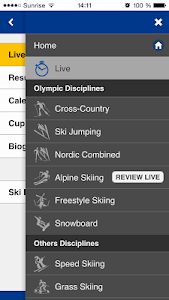 screenshot of Fis-ski mobile & live timing version 1.5.0