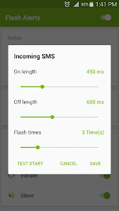 screenshot of Flash Alerts on Call and SMS version 2.0.5