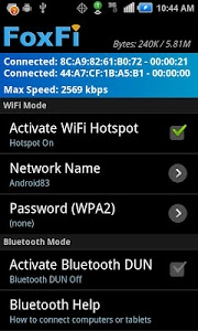 screenshot of FoxFi (WiFi Tether w/o Root) version 2.20