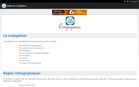 screenshot of Le Conjugueur version 2.71