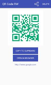screenshot of QR code RW Scanner version 2.3